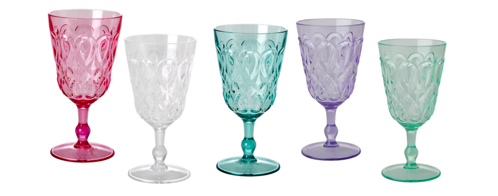 Clear Swirl Embossed Acrylic Wine Glass Rice Dk Vibrant Home